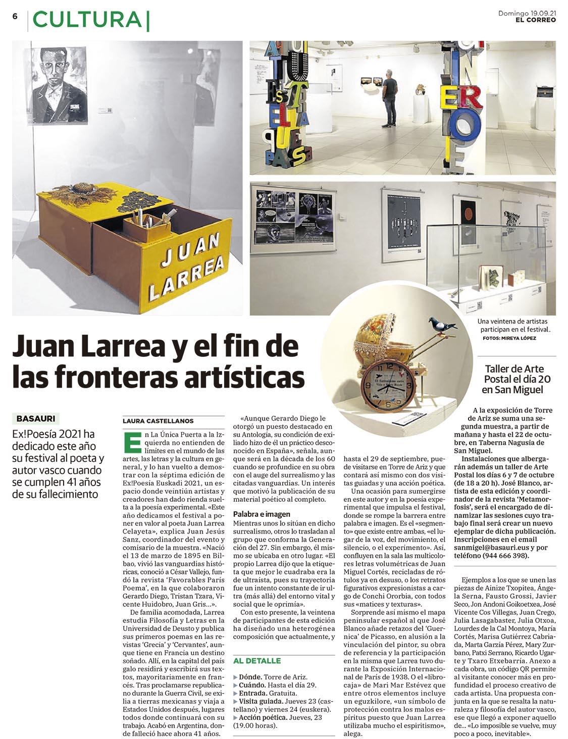 PRENSA(EL CORREO)-BASAURI TORRE ARIZ_EXPOSICIÓN JUAN LARREA