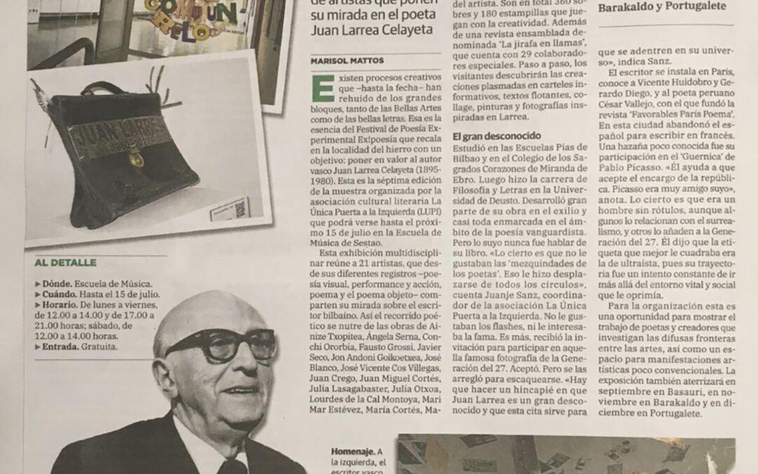 PRENSA: CORREO Euskadi: La poesía experimental florece